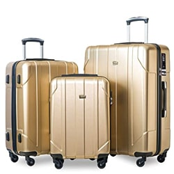 Merax MT Imagine 3 Piece Luggage Set Spinner Suitcase 20 24 28 Inches(Blue)