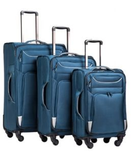 Coolife Soft Shell Spinner 3-Piece Kit Luggage Set
